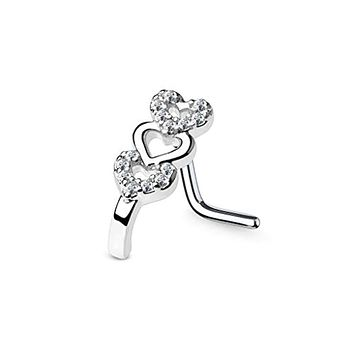 WildKlass CZ Paved Triple Heart Nose Crawlers 316L Surgical Steel L Bend Nose Stud Rings