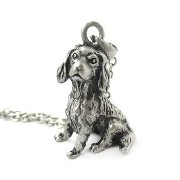 Realistic King Charles Spaniel Shaped Animal Pendant Necklace in Silver | Jewelry for Dog Lovers