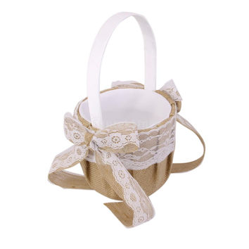 Hessian Burlap Wedding Flower Girl Basket Lace Bowknot Decor