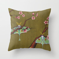 Luna Moths Perching Throw Pillow by Kate Halpin | Society6
