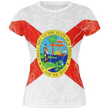 Florida Vintage Distressed State Flag All Over Juniors T Shirt