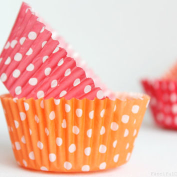 50 Paper Cupcake Liners - Garden Partys, Wedding, Birthday, Baby Shower, Celebrations Pink, Light Blue, Mint Green, Orange, Red