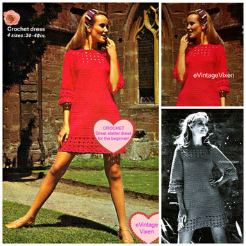 EASY CROCHET DRESS Instant Download Pdf Vintage Crochet Pattern 1960s Red Mini Dress Retro