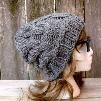 Women's Chunky Cable Knit Hat in Medium Grey, Slouchy Beanie