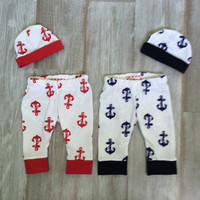 4th of July Red Anchor Newborn Baby Boy Pants w/ Red Cuffs and Hat Outfit. Take home outfit! White with Red anchors. Picture outfit! Summer