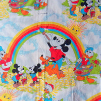 Vintage Mickey Mouse and Friends Twin Fitted Sheet 1980s