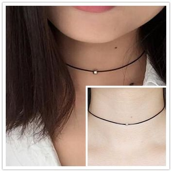 Lowest price !! Hot New women black leather cord necklace Maxi statement necklace Chokers Necklace for women 2017 Jewelry