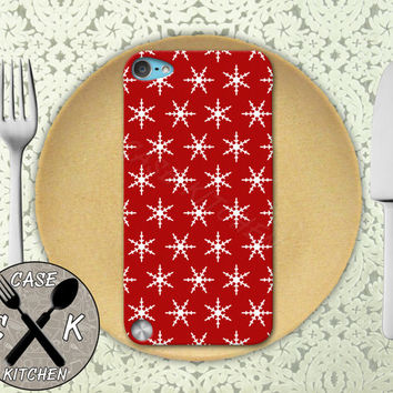 Red Snowflake Pattern Christmas Santa Holiday Cute Custom Rubber Case iPod 5th Generation and Plastic Case For The iPod 4th Generation