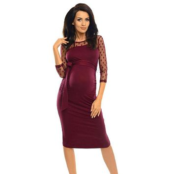 Women Dress Three Quarter Women Maternity Ruched Bodycon Pregnancy Dress With Polka Dot Lace Knee-Length vestido