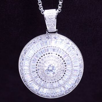 Baguette 3D Medallion Solitaire Spinner Silver Circle Pendant