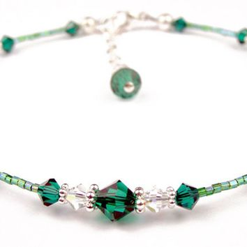 Handmade Beaded Anklets  | Birthstone Emerald May