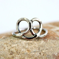 Little Pretzel Ring/  Heart Ring/  Sterling Silver Ring/ Cute Ring