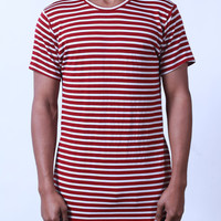 Red | Striped Side-Zip Long Tee