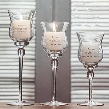 Modern Glass 3 PCS Crystal Candle Holder