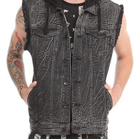 RUDE Black Crackle Wash Hooded Denim Vest | Hot Topic