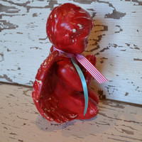 ANGEL red upcycled distressed home decor nursery decor valentines day decor mantle decor
