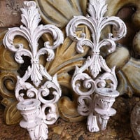 Shabby Chic Ornate Vintage Wall Sconces Hollywood Regency Soft Pink Baby Room