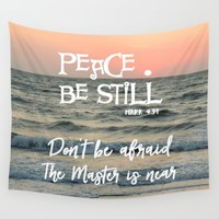 Peace Be Still Verse with Quote Wall Tapestry by Quote Life Shop