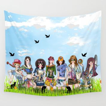 Trendy Fashion Models Wall Tapestry by Just Kidding