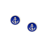 Anchor Clip On Button Stud Earrings