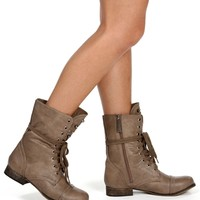 Taupe Front Embellished Combat Boots