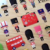 Little Soldier sticker World army toy Crystal sticker London bus sticker mini toy collection Lilliput kids story sticker deco kids gift card