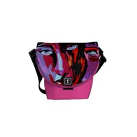 Painted abstract faces courier bag
