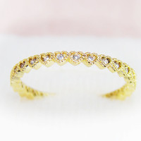 Tiny Heart Ring Crystal Jewelry Gold Silver bridesmaid Wedding Best Friend Love