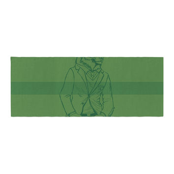 "Geordanna Cordero-Fields ""Dapper Bear Green"" Emerald Animal Bed Runner"