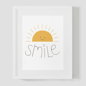 Happy Smiling Sun Bright Wall Art 8x10 Print