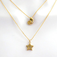 Double layered, Ariel and initial star, Gold, Necklace, Ariel, Seashell, Shell, Hand stamped, Personalized, Letter, Initial, Star, Jewelry