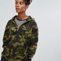 Obey Ennet Half Zip Hoodie in Camo at asos.com