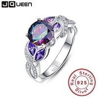 Mystical Rainbow Topaz 925 Sterling Silver Rings Sapphire Engagement Rings With Clear CZ For Women Female Original Fine Jewelry