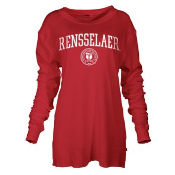 Official NCAA Rensselaer Polytechnic Institute Engineers RPI Hail PuckmanWomen's Boyfriend Fit Long Sleeve Thermal Lounger T-Shirt