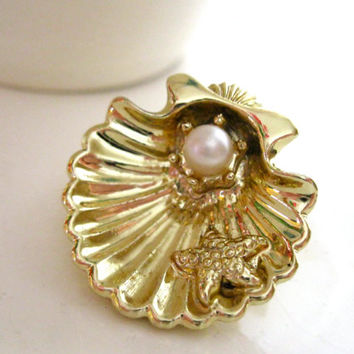Gold Seashell Pin Dainty Brooch with Pearl Enhancer Starfish Sea Ocean Nautical Jewelry