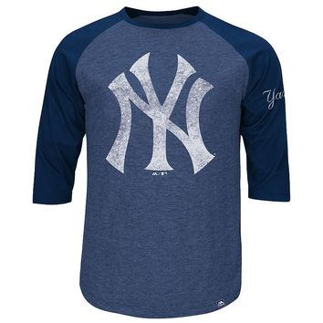 Majestic New York Yankees Ready to Go Raglan Tee - Big & Tall, Size: