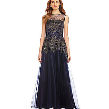 Tahari By ASL Metallic Floral-Embroidered Illusion Gown - Navy/Gold