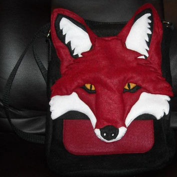 3D Red Fox Purse Hip Bag IPad Felt Made out of Recycled Water Bottles