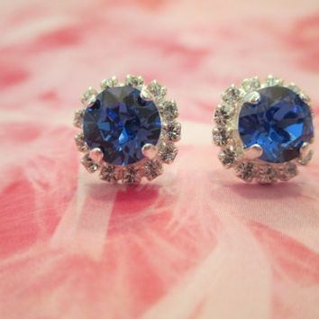 set of 5 swarovski 8mm bridesmaid stud earrings with surrounding crystals. in your choice of colors 293.