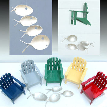 Adirondack chair and Spoon Fish Wind Chime