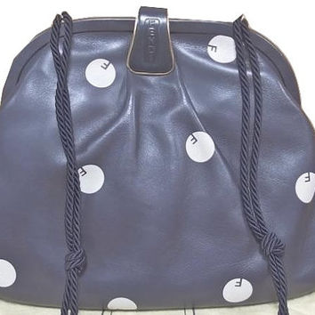 80's vintage FENDI navy nappa leather large clutch shoulder bag with white polka dot logo print and kiss lock closure. Rare masterpiece