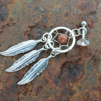 Sunstone Tragus Dream Catcher Piercing Cartilage Barbell