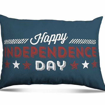 "Stratford Home 14""x20"" Limited Edition Americana Decorative Patriotic Lumbar Toss Pillow (Happy Independence Day)"