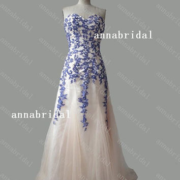 Sweetheart A-line Prom Dresses Champagne Tulle with Blue-purple Lace-appliques Corset Court Train Evening Gowns Women Formal Beads Sequins