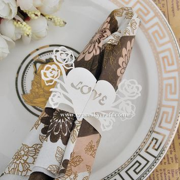 50pcs Wedding Napkin Rings Love Heart with Rose