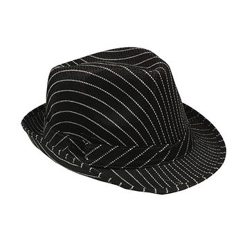 6b37966b2bbb Black Pinstripe Unisex Fashion Costume Fedora Hat Adult