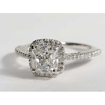 A Perfect 5.5CT Cushion Cut Halo Russian Lab Diamond Engagement Ring