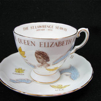 """Vintage TUSCAN Fine English Bone China """"Queen Elizabeth II St. Lawrence Seaway"""" Tea Cup & Saucer Set Made in England, Lovely!"""