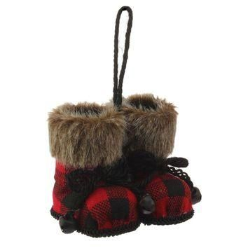 Christmas Cabin Red and Black Plaid Boot Set Ornament with Faux Fur Cuffs 4-in