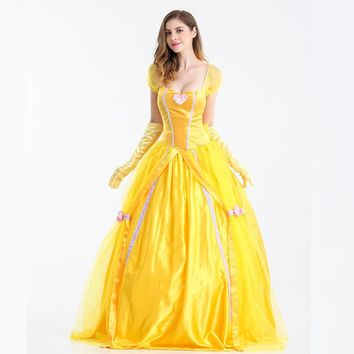 MOONIGHT Halloween Princess Dress Yellow Fairy Dress Fairy Tale Theme Costume Beauty And The Beast Belle Princess